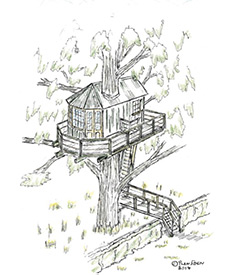 bespoke treehouse design by Dublin designer Peter O'Brien