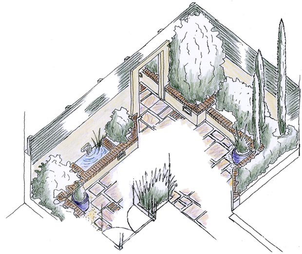 Axonometric drawing of a small courtyard design.