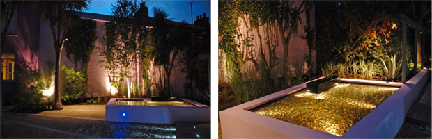 City garden lighting design by Dublin garden designerPeter O'Brien