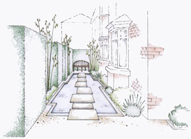Large water feature in a Dublin courtyard garden design drawing.