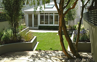 This well designed garden with clean architectural lines is easily maintained.